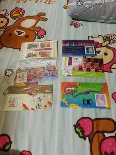 Hong kong post stamp香港郵政 小全張小型張 香港貨幣 共六張