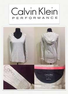 Calvin Klein Performance Quick Dry Logo Hoodie L/S Shirt - Silver