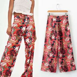 2018 Spring and Summer New European Station Flower Print Pants Women's Print Pants