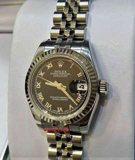 Used Rolex 179174 Ladies Black Roman Letter Dial Automatic 26mm with certificate year 2012