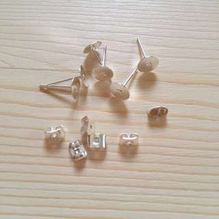 Ear Stud with Ear Nut Stopper Silver Plated