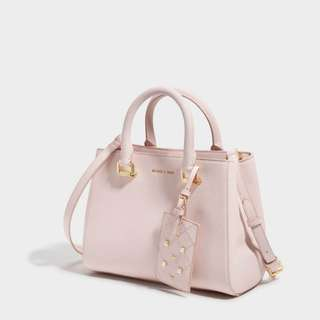 BNWT: AUTHENTIC CHARLES & KEITH PINK LARGE STRUCTURED CITY BAG