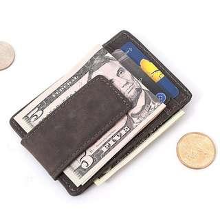 Men Leather Money Clip Front Pocket Wallet Id Credit Card Holder