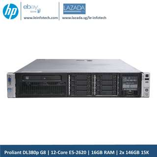 "2U Rack Server HP Proliant DL380p G8 2x 6-Core E5-2620#2.0GHz 16GB RAM 2x 146GB 1SAS HDD 5Krpm Up to 8x 2.5"" SAS/SATA hard drives 7 Days money back guatantee"