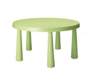 Preloved IKEA MAMMUT Green Round Table with 2 MAMMUT Blue Chairs