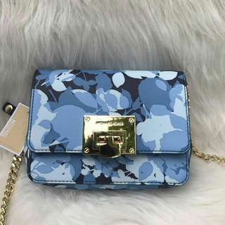 MICHAEL KORS TINA STUD SMALL CLUTCH BAG CROSSODY FLORAL IN NAVY