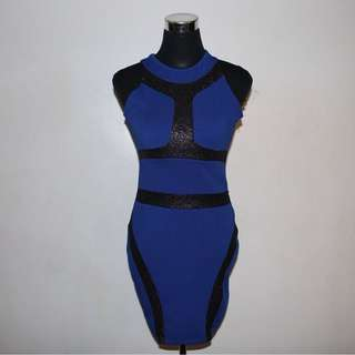 Dark blue with black accent dress -perfect for date night!