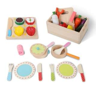 29 Piece Kid's Food Play Set Colorful Design Made of Solid Wood
