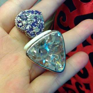 華麗白鋼戒指X2。未使用。分享