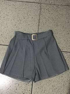 紫灰格紋短褲F