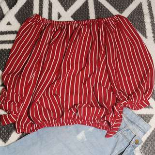 Red and White Stripes Off Shoulder