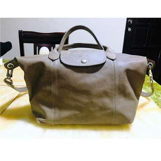 Longchamp Le Pliage Cuir Small Leather Bag (Authentic)
