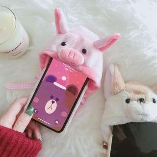 🚚 超可愛小狗毛绒帽子蘋果X、iPhone7/8plus毛球小猪6/6s手機殼!