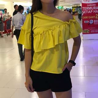 yellow white frill top