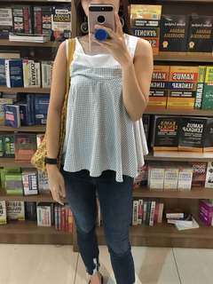 Checkered Blue White Top