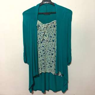 Crissa 2-in-1 Cardigan and Blouse Top