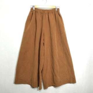 日本單 包郵 24-34腰得1條 啡色 鬆身裙褲 闊腳褲 AS166809