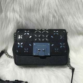 MICHAEL KORS TINA STUD SMALL CLUTCH BAG CROSSODY FLORAL PERFORATED NWT IN BLACK