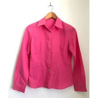 Funky Pink Button-Up Polo (Black blazer not included)