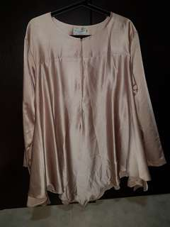 Nude brown flare top