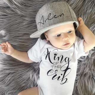 "0-18M ""King of this Crib"" Baby Romper"