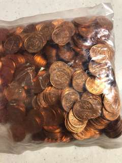 A sealed bag of Singapore 1 cent copper coins