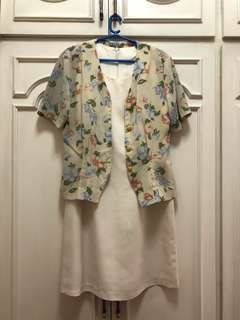 Cream colored dress with floral blouse set