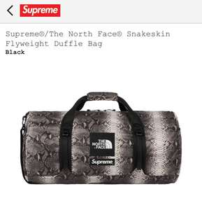 Supreme / The North Face Snakeskin Flyweight Duffle Bag