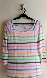 Colorful Stripe 3/4 Top