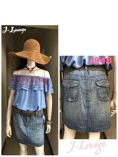 🚚 J948全新美國Tommy Hilfiger夏天薄款復古刷舊經典牛仔裙單寧裙 denim skirt J-Lounge