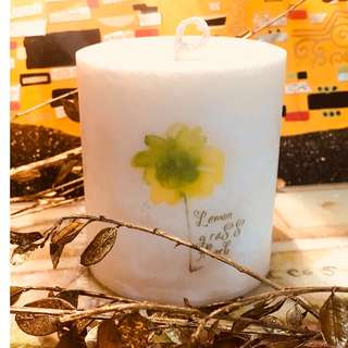 Lemongrass Herb Scented Palm Candle