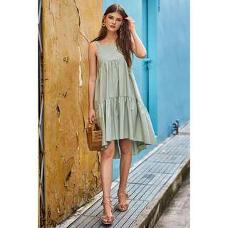 TCL Karra dipped hem midi dress, spring mint