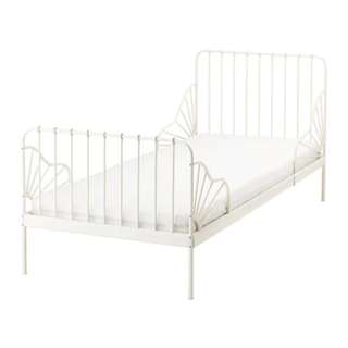 Ikea MINNEN white extendable bed frame with foam mattress