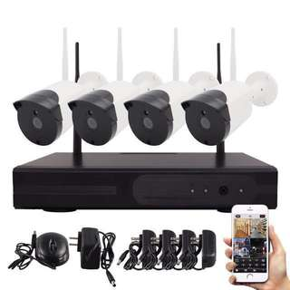 7-STAR* Wireless Plug & Play 4CH/8CH NVR Recorder Kit Set with 4/8 IP66 Weatherproof indoor/outdoor Day&Night HD Dome or Bullet Security CCTV Wireless IP Camera