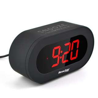101. Reacher Easy Snooze and Time Setting Digital Alarm Clock, Charging Station Phone Charger with USB Port, Battery Backup for android phone iphone tablet ipad (Black)