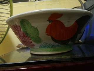 antique chicken bowl big