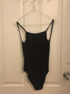 Black Backless Bodysuit