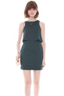 ACW Anticlockwise Two Tier Layered Work Dress in Emerald