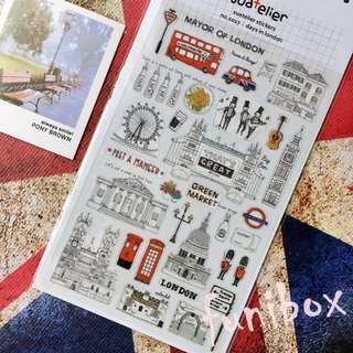 *funibox*韓國suatelier手繪風倫敦生活pvc貼紙/英國旅遊貼紙/手作相冊日記卡片名信片手帳裝飾貼紙