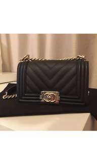 Authentic Chanel Boy Small Chevron Caviar
