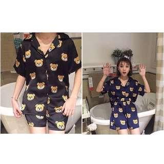 🚚 Chuu 韓國熊熊印花襯衫式睡衣 家居服 短袖短褲