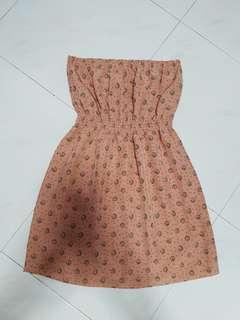 Beige Flora Tube Dress