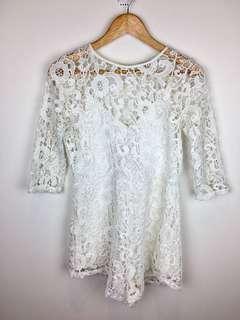 Zara sz S/M white lace floral playsuit romper jumpsuit