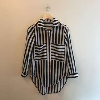 Boutique long sleeved stripy top