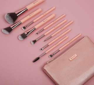 [🥀SLOTS 0/15] BH Cosmetics pretty in pink 10 piece brush set with cosmetic bag