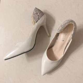 韓國 米白蛇紋 尖頭高跟鞋 37/38 size high heels by korea