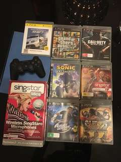 PS3 Games, controller and Singstar mics