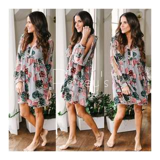 FLORAL CUT-OUT SLEEVE DRESS