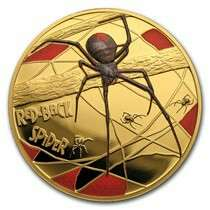2018 Niue 1 oz Proof Gold Red-Back Spider Deadly & Dangerous