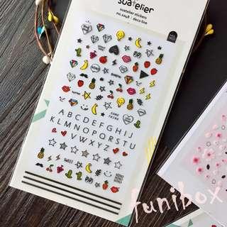 *funibox*韓國suatelier 童趣圖案字母pvc指甲貼/手作相冊日記卡片名信片手帳裝飾貼紙
